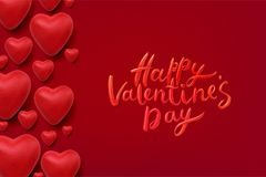 Happy Valentines Day Vector Lettering. Happy Valentines Day Lettering and 3d hearts on red background. Love greeting card design. Vector frame Stock Photo