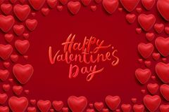 Happy Valentines Day Vector Lettering. Happy Valentines Day Lettering and 3d hearts on red background. Love greeting card design. Vector frame Royalty Free Stock Images