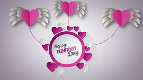 Happy Valentines Day vector with pink hearts stock video footage