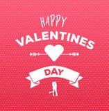 Happy valentines day vector on pink pattern Royalty Free Stock Photography