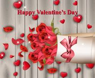 Happy Valentines Day Vector realistic card with Red hearts and roses. Illustration Stock Photo