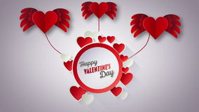 Happy Valentines Day vector with red hearts stock video footage