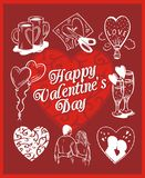 Happy valentines day - vector set. Royalty Free Stock Photo