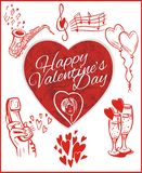 Happy valentines day - vector set. Royalty Free Stock Images
