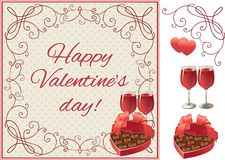 Happy  valentines day. Vector set of two wineglasses with Red wine  and heart shaped box of chocolates candy on ornate border Stock Image