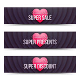 Happy Valentines Day vector web banners Stock Photos