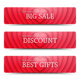 Happy Valentines Day vector web banners Royalty Free Stock Photography