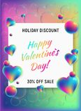 Happy valentines day vertical background. With rainbow holographic hearts and spheres. 3D vector sale illustration. Holiday discount and 30 off sale. For Stock Photography