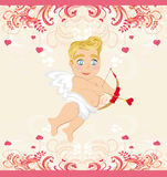 Happy valentines day vintage card with cupid Stock Photo