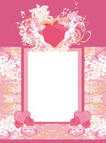 Happy valentines day vintage card with cupids and floral frame Royalty Free Stock Photo