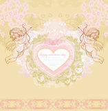 Happy valentines day vintage card with cupids Stock Photo