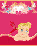 Happy valentines day vintage card with cupids Stock Photography