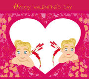 Happy valentines day vintage card with cupids Royalty Free Stock Images