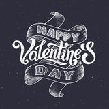 Happy Valentines Day vintage greeting card. With hand lettering. Typographic vector illustration for 14 February day of love Stock Illustration
