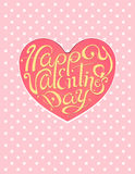 Happy valentines day vintage lettering pink background. Polka dots greeting card Royalty Free Stock Image