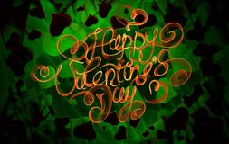 Happy Valentines day vintage lettering written by fire or orange and green smoke over abstract background full of flying hearts.  stock illustration