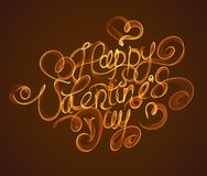 Happy Valentines day vintage lettering written by fire or orange and green smoke over brown background Stock Image