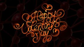 Happy Valentines day vintage lettering written by fire or orange smoke over black background Royalty Free Stock Images