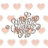 Happy Valentines day vintage lettering written by fire or smoke over bright seamless background full of flying hearts. 3d illustra. Tion Royalty Free Stock Images
