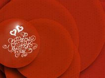 Happy Valentines day vintage lettering written by fire or smoke over red abstract background full of circles Royalty Free Stock Photo