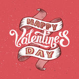 Happy valentines day vintage poster. Happy valentines day retro greeting card. Hand lettering vintage poster with halftone textures. 14 February day of love Royalty Free Illustration