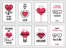 Happy Valentines Day or Wedding Cards Set Stock Photo