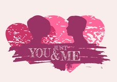 Happy valentines day and wedding design elements. Shattered hearts. Man and woman silhouettes looking at each other. Grunge brush stroke. Happy valentines day Royalty Free Stock Image