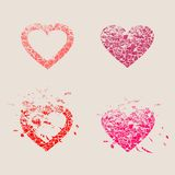 Happy valentines day and wedding design elements. Shattered hearts Royalty Free Stock Photo