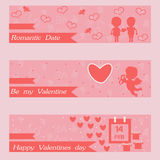 Happy valentines day and weeding banners. greeting cards Royalty Free Stock Images
