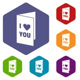 Happy Valentines day or weeding card icons set Royalty Free Stock Photos