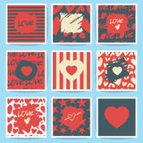 Happy valentines day and weeding cards. Set Royalty Free Stock Images