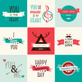 Happy valentines day and weeding cards. Vector illustration. Typographical Background With Ornaments, Hearts, Ribbon and Arrow Royalty Free Stock Image