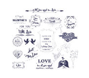 Happy valentines day and weeding design elements Royalty Free Stock Photo
