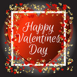 Happy valentines day and weeding design elements. Red pink hears, golden glitter confetti with white look like Stock Image