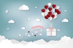 Happy valentines day and weeding design elements. Vector illustration. Balloon hang the gift box on abstract background. Happy valentines day and weeding design Stock Image