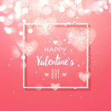 Happy valentines day and weeding design elements. Vector illustration.. Light Pink bokeh Background With, Hearts. Greeting card 14 february Stock Image