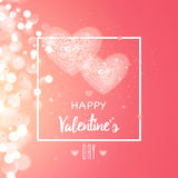 Happy valentines day and weeding design elements. Vector illustration.. Light Pink bokeh Background With, Hearts. Greeting card 14 february Royalty Free Stock Photography