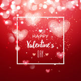 Happy valentines day and weeding design elements. Vector illustration. Light Pink bokeh Background With, Hearts. Greeting card 14 february Stock Photos