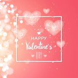 Happy valentines day and weeding design elements. Vector illustration. Light Pink bokeh Background With, Hearts. Greeting card 14 february Royalty Free Stock Photo