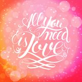 Happy valentines day and weeding design elements. Vector illustration. Pink Background With Ornaments, Hearts. Doodles and curls. Luxury Elegant Happy valentine Stock Photography