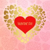 Happy valentines day and weeding design elements. Vector illustration. Pink Background With Ornaments, Hearts. Doodles and curls. Luxury Elegant Happy valentine Royalty Free Stock Photo