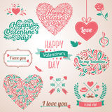 Happy valentines day and weeding design elements. Vector illustration. Typographical Background With Ornaments, Hearts, Ribbon and Arrow. Doodles and curls Stock Images