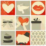 Happy valentines day and weeding retro set Royalty Free Stock Photography