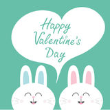 Happy Valentines Day. White bunny rabbit couple. Heart frame template. Cute cartoon smiling character twins. Baby greeting card. G Stock Image