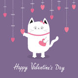 Happy Valentines Day. White cat Hanging pink hearts. Dash line. Heart set Cute cartoon character. Kawaii animal. Love Greeting car Stock Photos