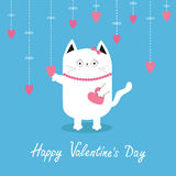 Happy Valentines Day. White cat Hanging pink hearts. Dash line. Heart set Cute cartoon character. Kawaii animal. Love Greeting  Stock Images