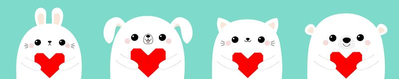 Happy Valentines Day. White cat kitten rabbit hare bear dog puppy head face set holding red origami paper heart. Cute cartoon. Kawaii funny baby animal royalty free illustration