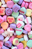 Happy Valentines day wishes. Edible Sweet messages for valentines day written on candy hearts. Miss you Stock Photography