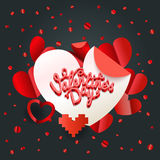 Happy valentines day wishes greeting card layout. Valentines vec Royalty Free Stock Images