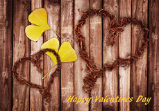 Happy Valentines Day, wood and leaf Stock Photo